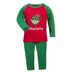 Christmas Girl Elf Any Name Embroidered Pyjamas