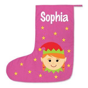 Girl Elf Any Name Printed Christmas Stocking