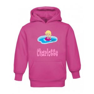 Swimming Girl Any Name Childrens Hoodie