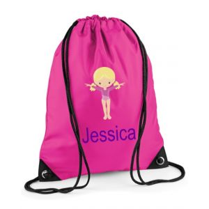 Gymnast Any Name Drawstring Bag