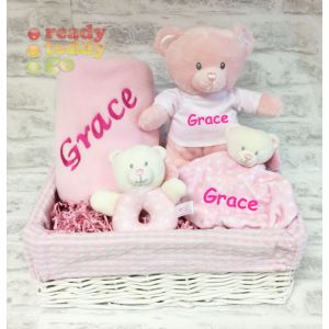Baby Teddy Bear, Fleece Blanket, Bear Comforter + Rattle Gift Basket Hamper (Boy/Girl)