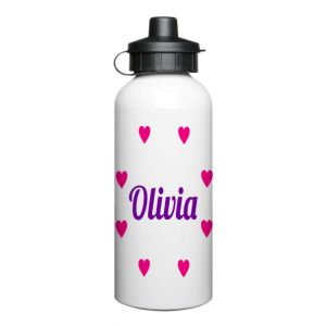 Any Name + Hearts 600ml Sports Drinks Bottle