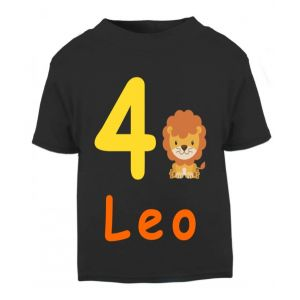Lion Birthday Any Name & Number Childrens Printed T-Shirt