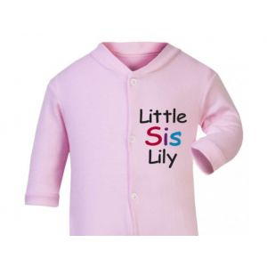 Little Sis Any Name Baby Sleepsuit