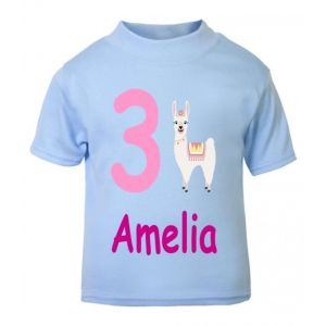 Llama Birthday Any Name & Number Childrens Printed T-Shirt