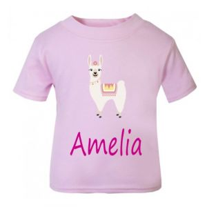 Llama Any Name Childrens Printed T-Shirt