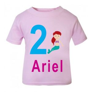Mermaid Birthday Any Name & Number Childrens Printed T-Shirt