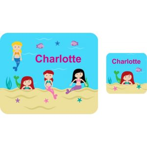 Mermaids Hardboard Placemat & Coaster