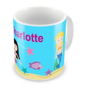 Mermaids + Name Mug