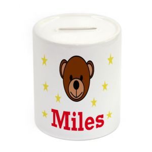 Teddy Bear Face Ceramic Money Box