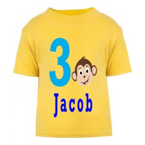 Monkey Birthday Any Name & Number Childrens Printed T-Shirt