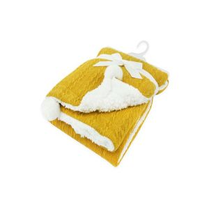 Any Name Mustard Cable Knit Wrap Baby Blanket
