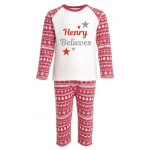 Christmas Red Fairisle Inspired Any Name Believes Childrens Pyjamas
