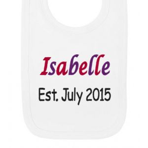Any Name Est. Any Date Girl Baby Bib