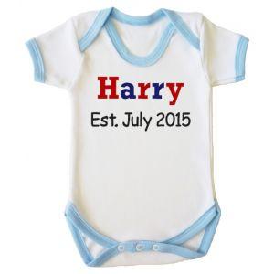 Any Name Est. Any Date Boy Baby Vest