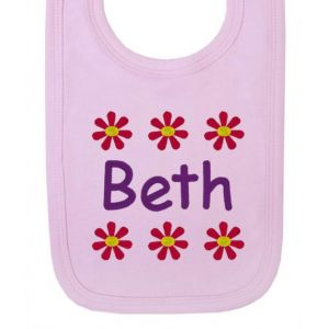 Any Name Flowers Baby Bib