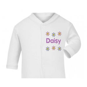 Any Name Flowers Baby Sleepsuit