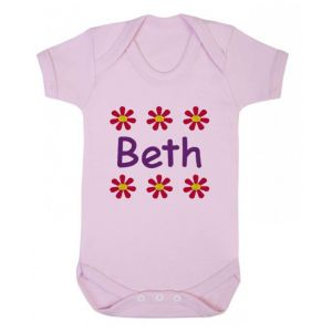 Any Name Flowers Baby Vest
