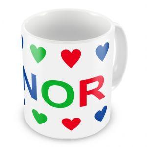 Boy Colours Hearts + Name Mug