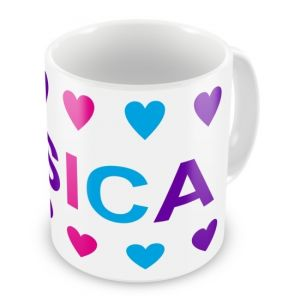 Girl Colours Hearts + Name Mug