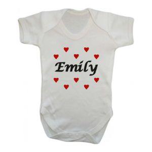 Any Name Hearts Baby Vest