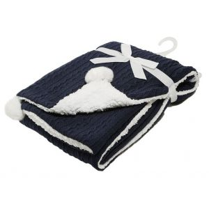 Any Name Navy Blue Cable Knit Wrap Baby Blanket