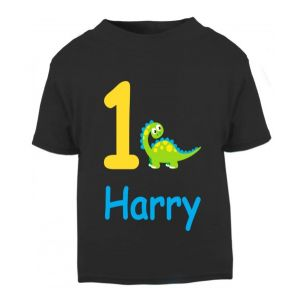 Cute Dinosaur Birthday Any Name & Number Childrens Printed T-Shirt