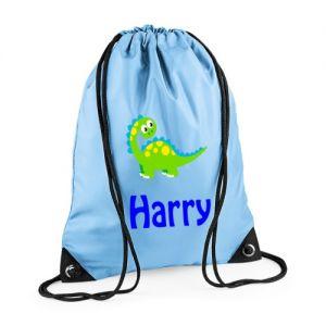 Cute Dinosaur Any Name Drawstring Bag
