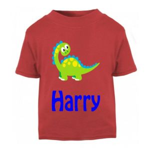 Cute Dinosaur Any Name Childrens Printed T-Shirt