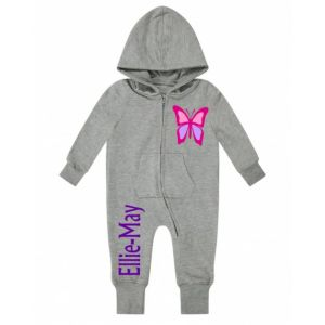 Butterfly Any Name Childrens Zip Up Onesie