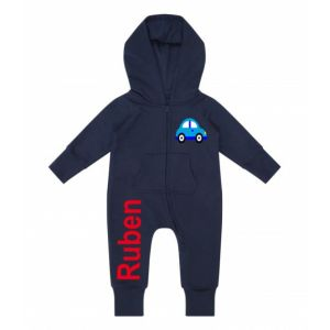Car Any Name Childrens Zip Up Onesie