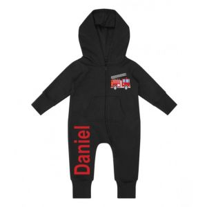 Fire Engine Any Name Childrens Zip Up Onesie