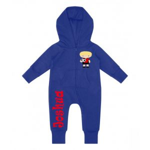 Football Player Any Name Childrens Zip Up Onesie