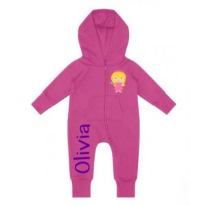 Princess Any Name Childrens Zip Up Onesie