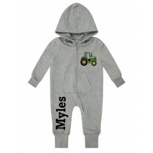 Tractor Any Name Childrens Zip Up Onesie