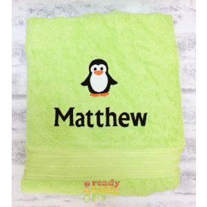 Name + Penguin Embroidered Design Bath Towel