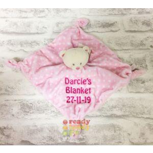 Pink / Blue Spotty Bear Baby Comforter