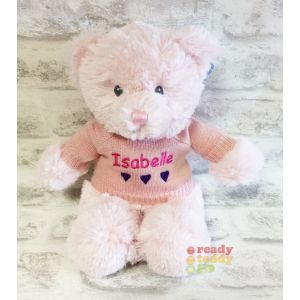 Baby Pink Teddy Bear with Knitted Jumper