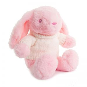 Pink Bunny Rabbit wearing cream Knitted Jumper