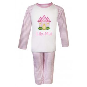Pink Castle Any Name Embroidered Pyjamas