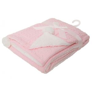 Any Name Pink Cable Knit Wrap Baby Blanket