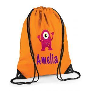Pink Monster Any Name Drawstring Bag