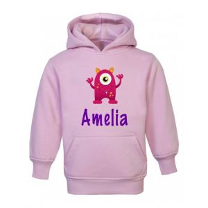 Pink Monster Any Name Childrens Hoodie