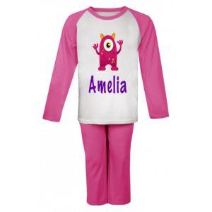 Pink Monster Any Name Childrens Pyjamas
