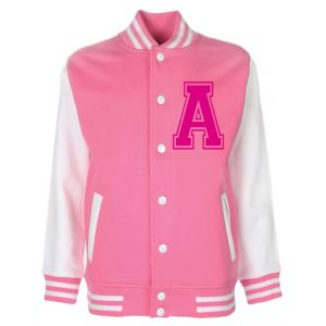 Personalised Junior Stanford Pink Varsity Jacket