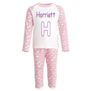 Applique Letter (CHOOSE FABRIC) Any Name Embroidered Pyjamas
