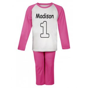 Applique Number (CHOOSE FABRIC) Any Name Embroidered Pyjamas