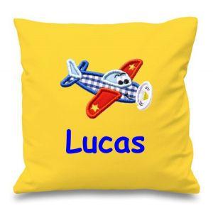Aeroplane Any Name Embroidered Cushion