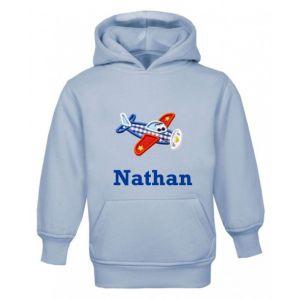 Aeroplane Any Name Childrens Embroidered Hoodie