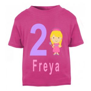 Princess Birthday Any Name & Number Childrens Printed T-Shirt